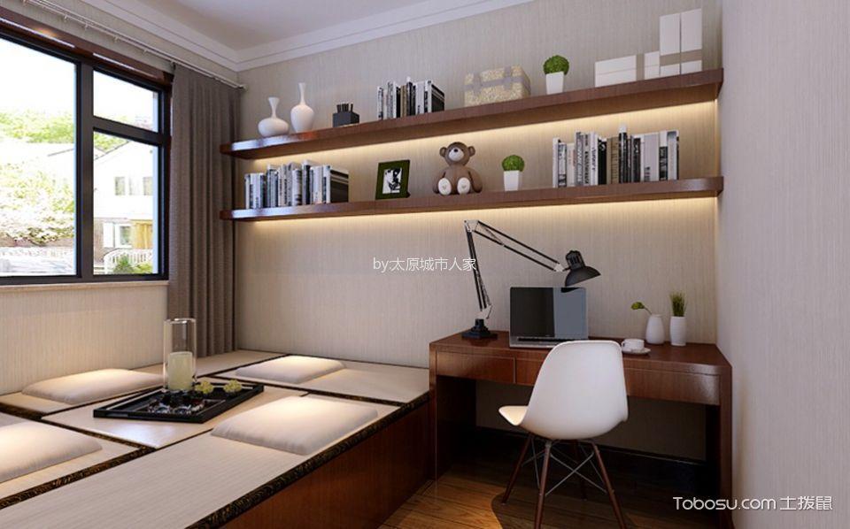 卧室咖啡色书桌中式风格装修设计图片