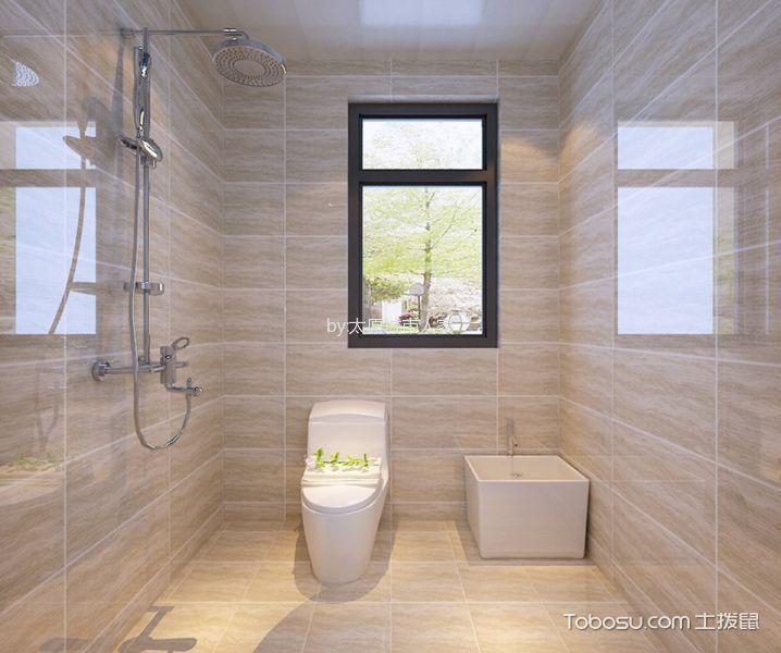 卫生间米色背景墙中式风格装饰效果图