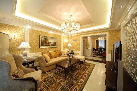 客厅门厅美式风格装潢设计图片