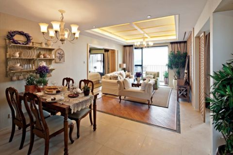 地中海风格148平米三室两厅室内装修效果图