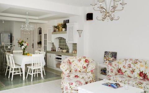 客厅白色茶几田园风格装修设计图片