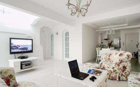 客厅白色茶几田园风格装修效果图