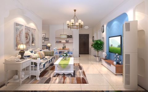 客厅白色灯具地中海风格装修设计图片