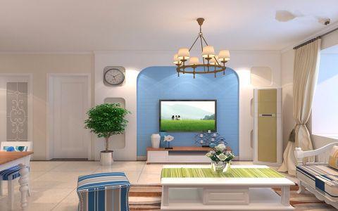 客厅米色窗帘地中海风格装潢设计图片