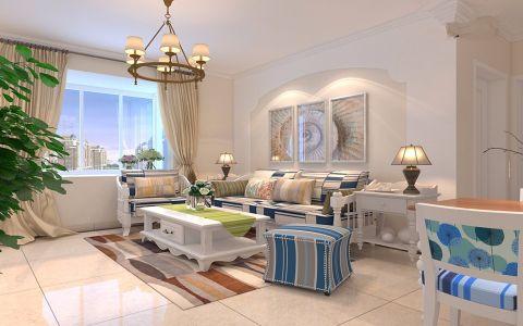 客厅白色茶几地中海风格效果图