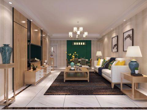 新中式风格100平米两房两厅新房装修效果图