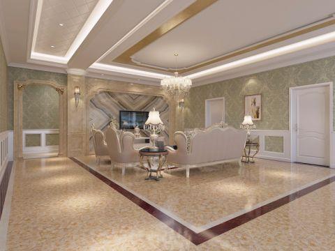 客厅地板砖欧式风格装潢设计图片