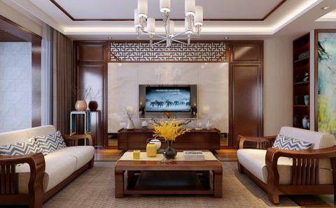 中式风格150平米三室两厅室内装修效果图