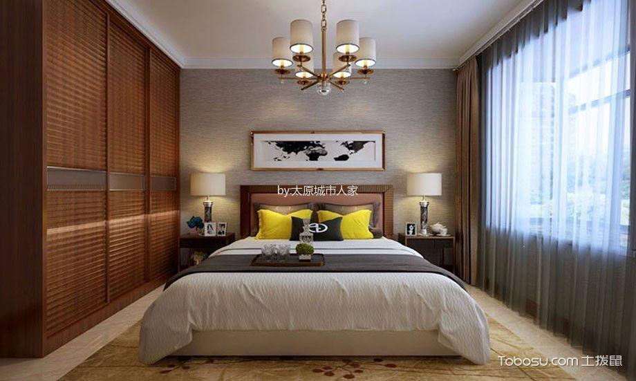 卧室咖啡色衣柜现代简约风格装修设计图片