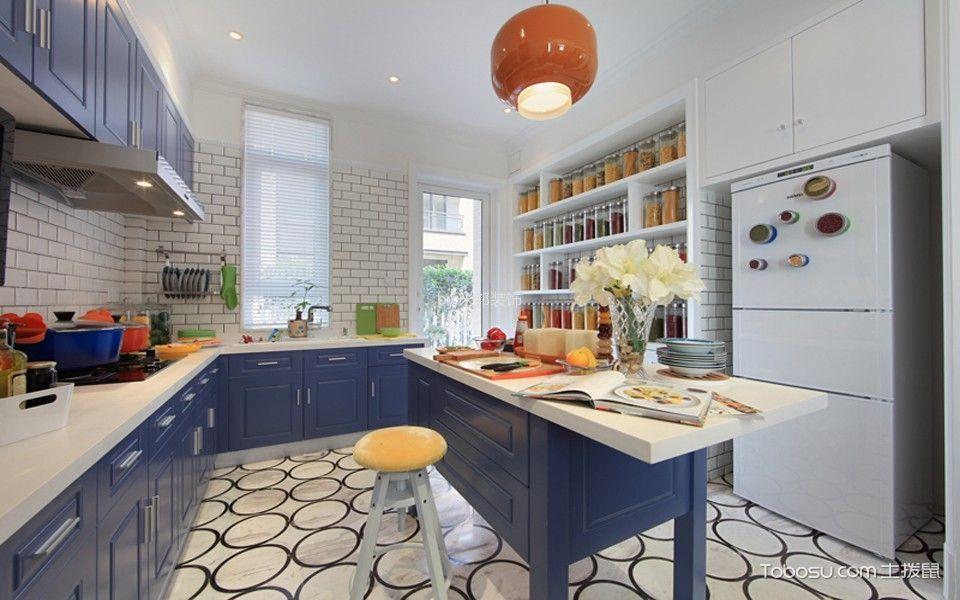 厨房橙色吊顶混搭风格装潢效果图