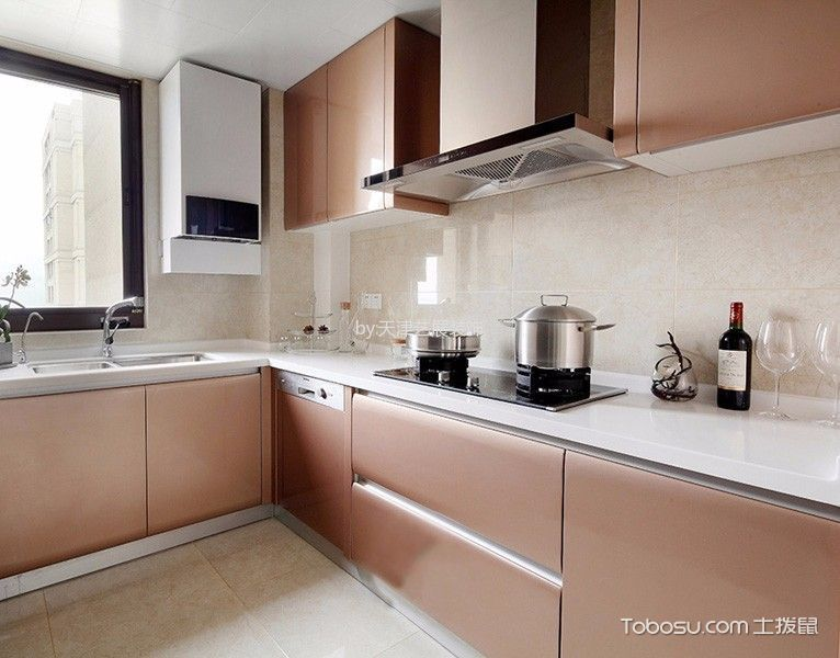 厨房米色背景墙简欧风格装潢效果图