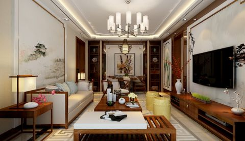 中式风格120平米两房两厅新房装修效果图