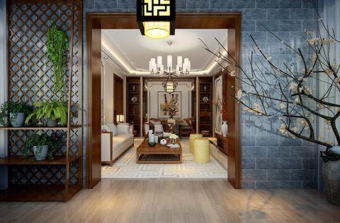 玄关背景墙中式风格装修设计图片