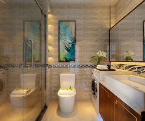 卫生间背景墙中式风格装修效果图
