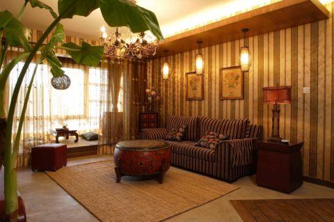 东南亚风格134平米3房2厅房子装饰效果图