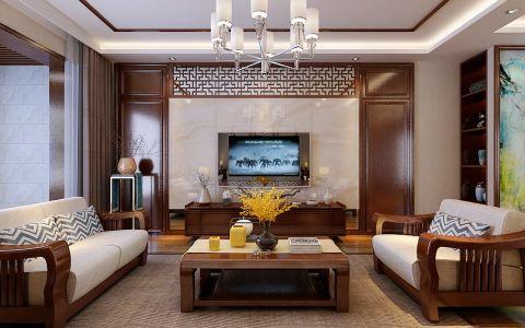 中式风格150平米两房两厅新房装修效果图