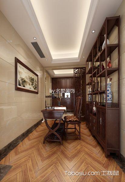 书房咖啡色博古架混搭风格装饰设计图片