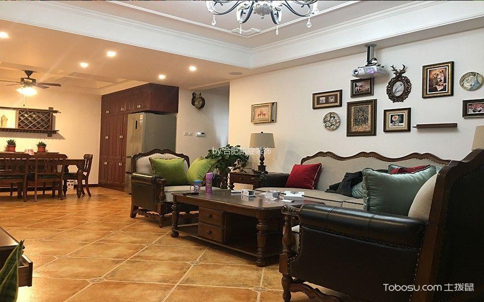 客厅黄色地板砖美式风格装潢图片