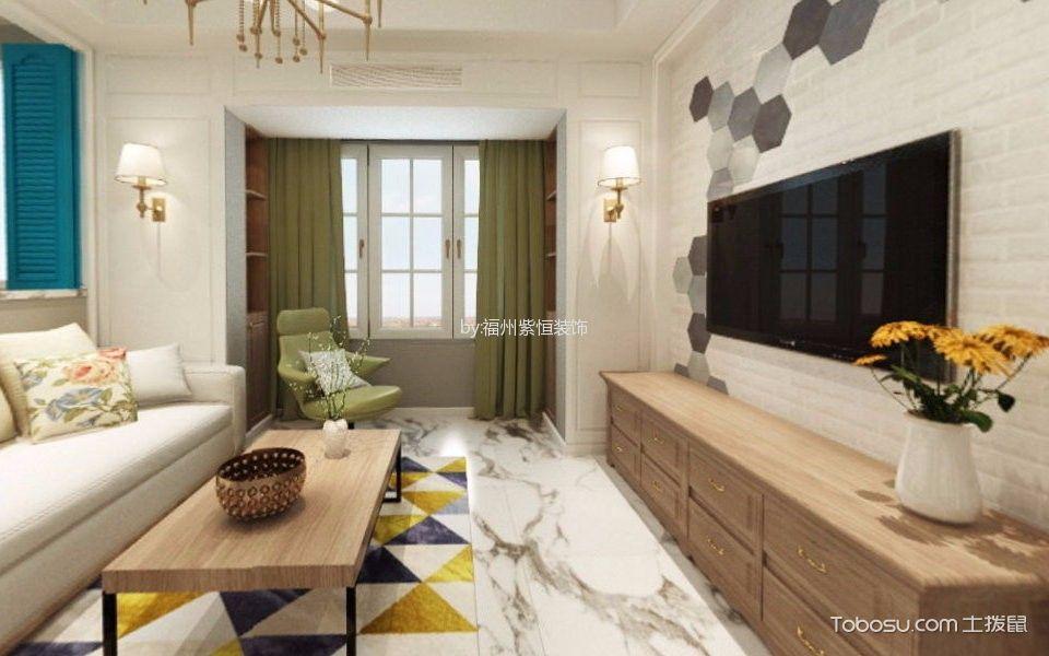 美式风格80平米两房两厅新房装修效果图