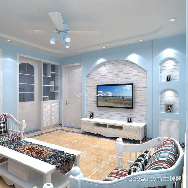 客厅黄色地板砖地中海风格装修效果图