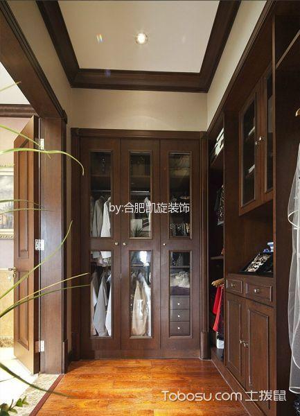 衣帽间咖啡色衣柜美式风格装潢设计图片