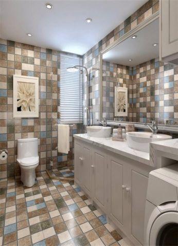 卫生间背景墙田园风格装修设计图片
