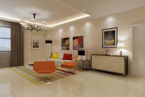 现代简约风格115平米小户型室内装修效果图