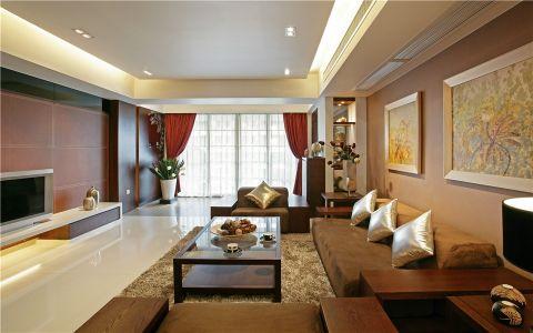 新中式风格110平米三室两厅室内装修效果图