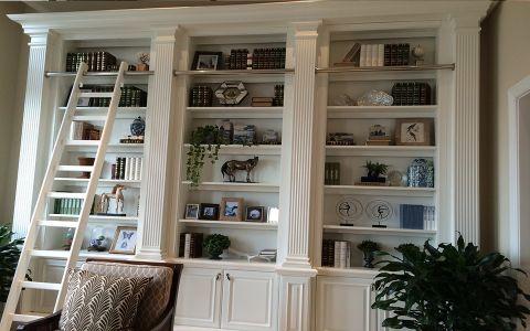 书房博古架美式风格装饰图片