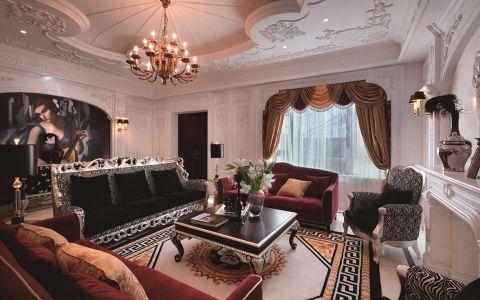 法式风格120平米三室两厅室内装修效果图