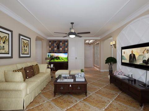 美式风格133平米三室两厅室内装修效果图