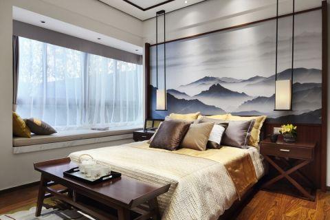 新中式风格134平米三室两厅室内装修效果图