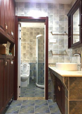 卫生间背景墙美式风格装潢效果图