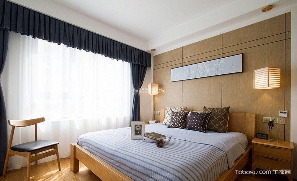 卧室灰色窗帘日式风格装修设计图片