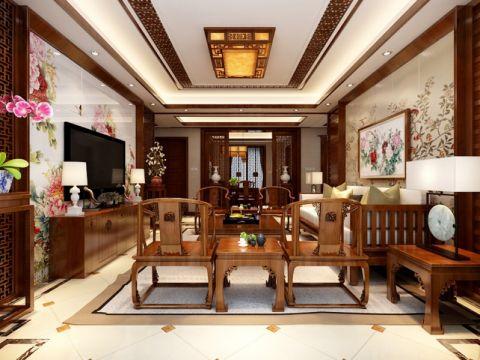中式风格150平米三房两厅新房装修效果图