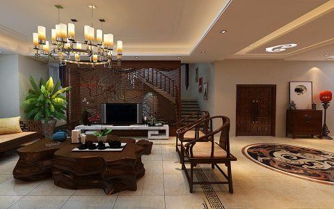客厅楼梯中式风格装潢设计图片