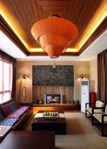 客厅灯具东南亚风格装修图片