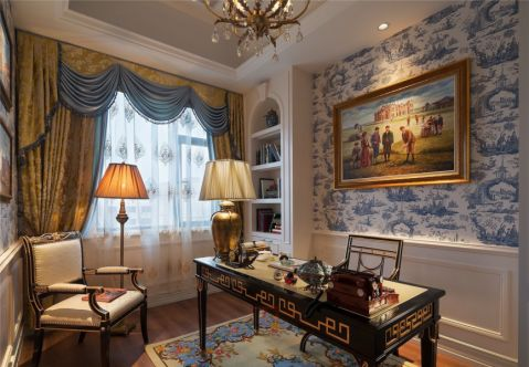 书房背景墙法式风格装修图片