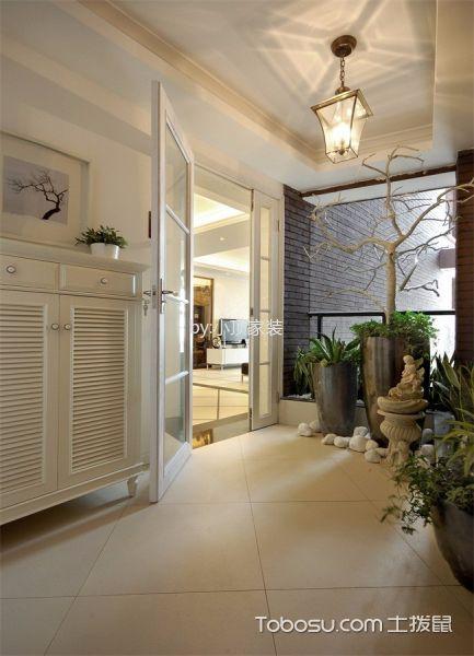 玄关米色背景墙现代风格装饰设计图片