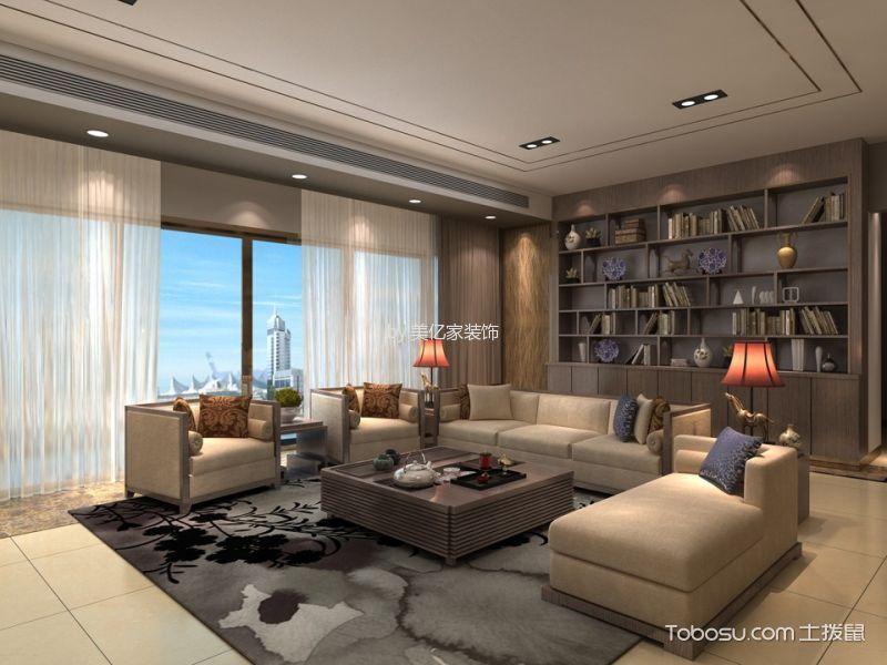 后海漾日湾畔248平现代中式风格装修效果图 客厅 卧室 阳台 厨房 背景墙