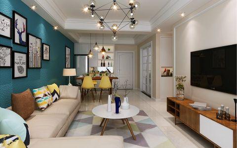 北欧风格87平米三房两厅新房装修效果图