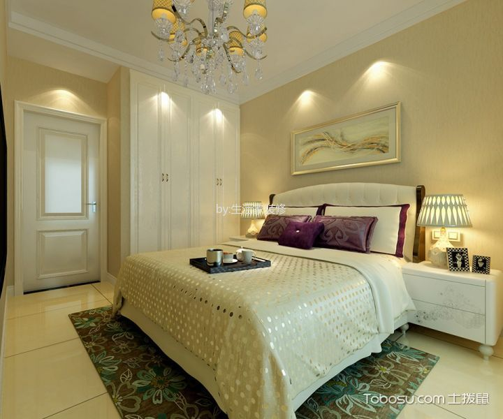 卧室白色衣柜简欧风格装潢效果图