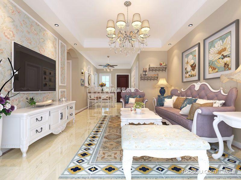 滨湖国际花都美式三居室风格效果图