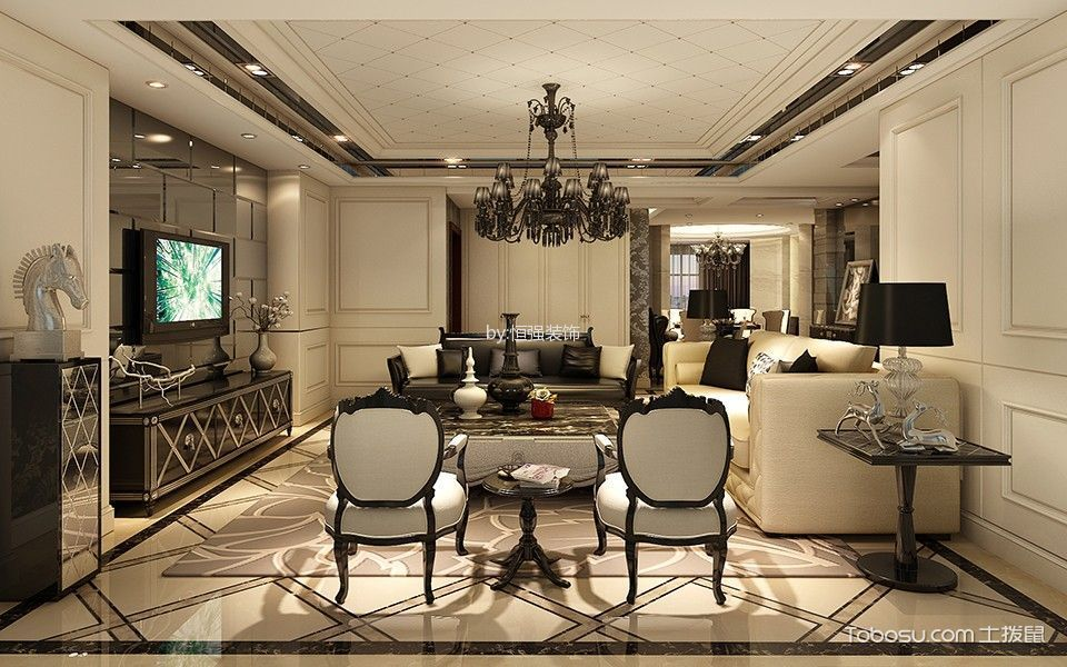客厅 吊顶_欧式风格120平米3房2厅房子装饰效果图
