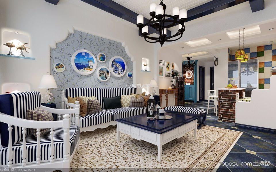 客厅白色灯具地中海风格装修图片