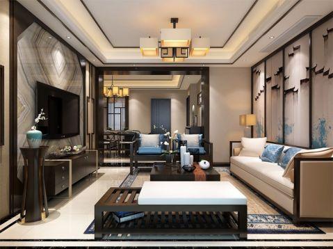 新中式风格120平米3房2厅房子装饰效果图