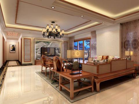 客厅米色灯具现代中式风格效果图
