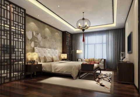卧室现代中式风格装潢效果图