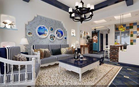 地中海风格129平米大户型房子装饰效果图
