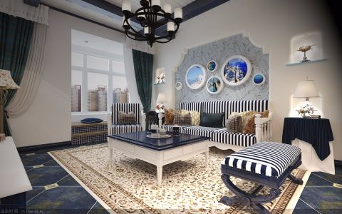 客厅沙发地中海风格装潢图片